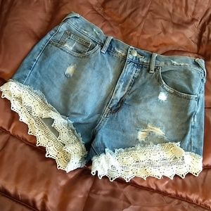 Free People Distressed Lace Shorts